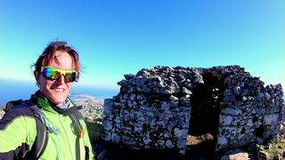 Szczyt Dzabal Musa, drugi z Kolosow Heraklesa-  w tle Ceuta i ciesnina Gibraltar